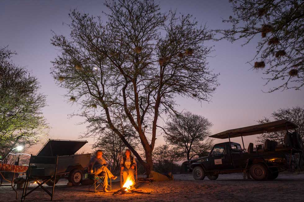Campfire in the Central Kalahari with Afrika Ecco Safaris