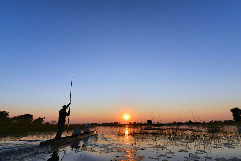 Afrika Ecco sunset mokoro excursion in the Delta