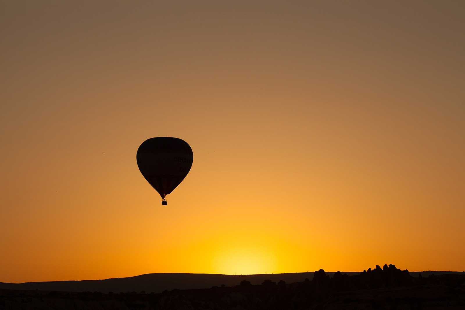 Hot-air balloon at sunset