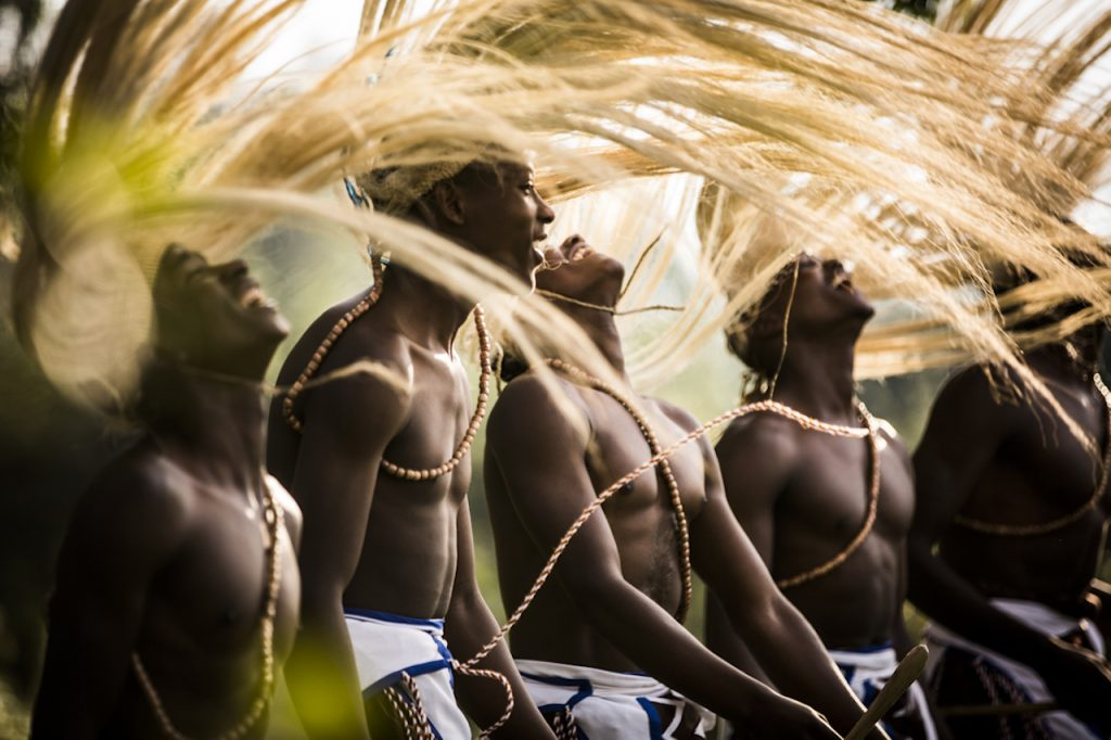 Traditional Intore dancers stir the mood, Bisate Lodge, Rwanda