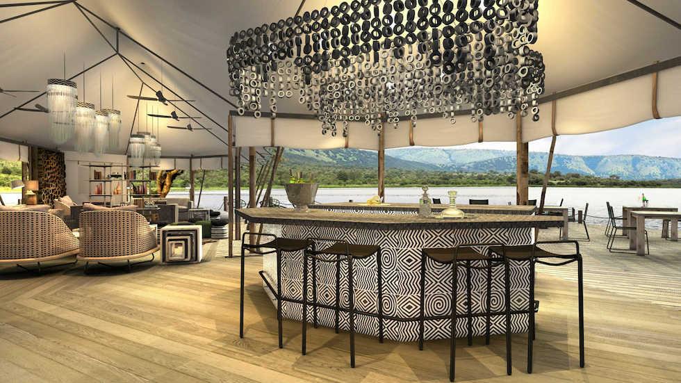 Magashi textualised bar overlooking Rwanyakazinga Lake at Magashi Camp concept