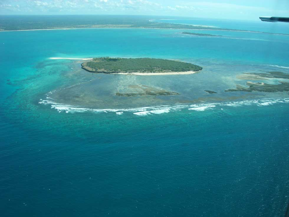 Aerial shot of Mogundula Island