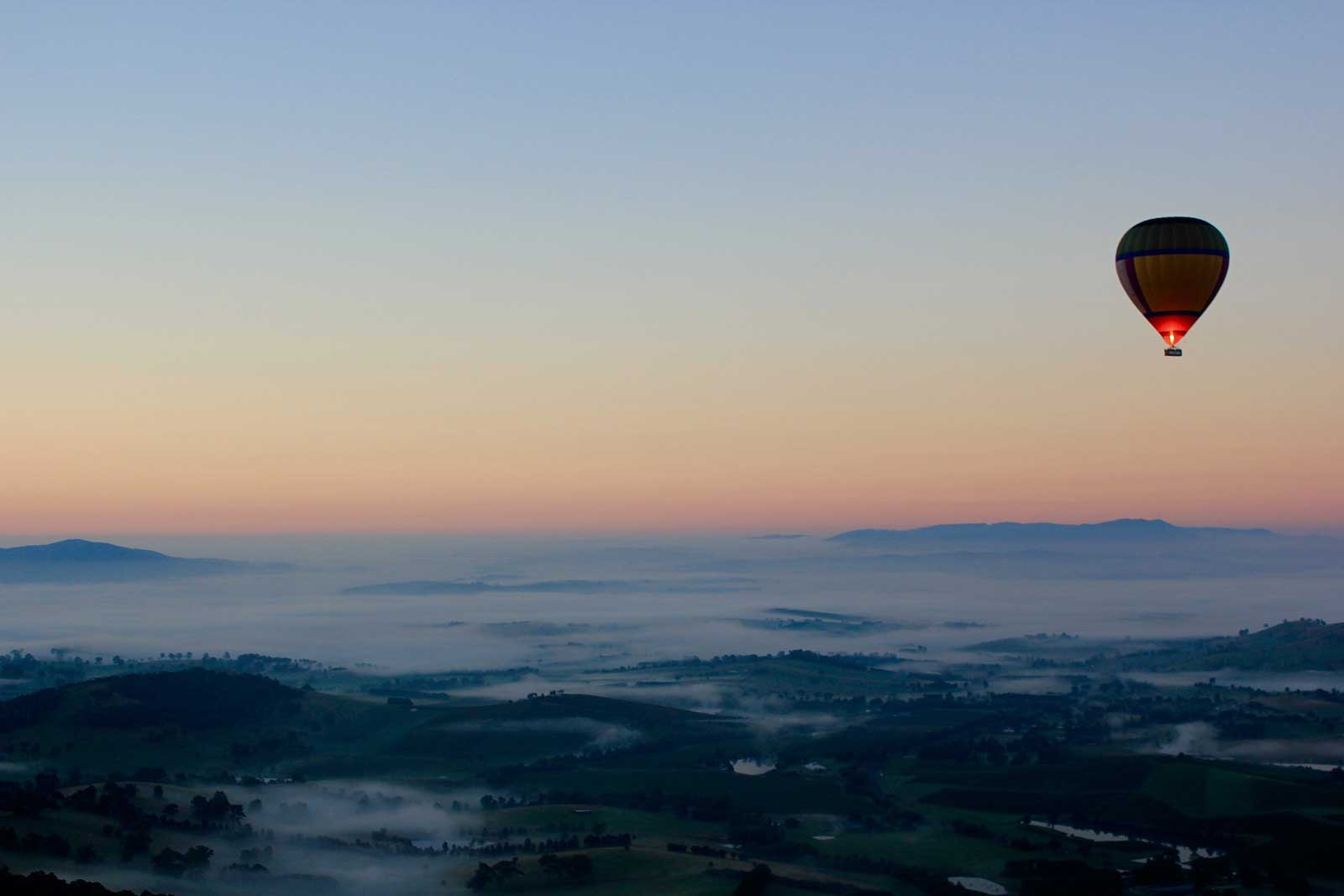 Hot-air balloon at dawn