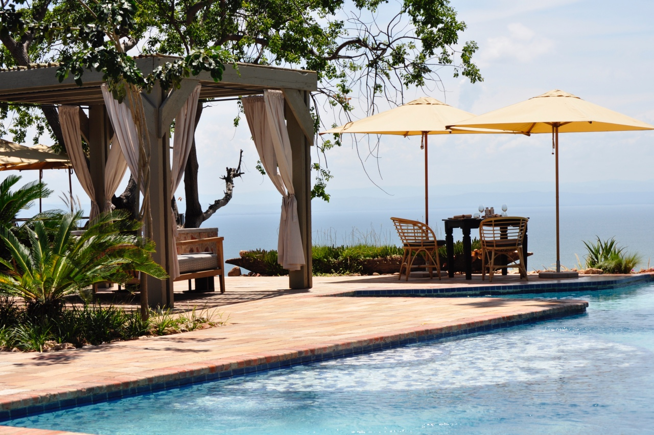 Poolside relaxation overlooking Lake Kariba at Bumi Hills