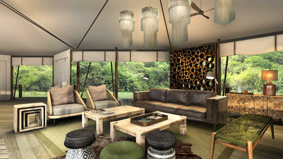 Magashi Camp stylish lounge with open canvas windows concept