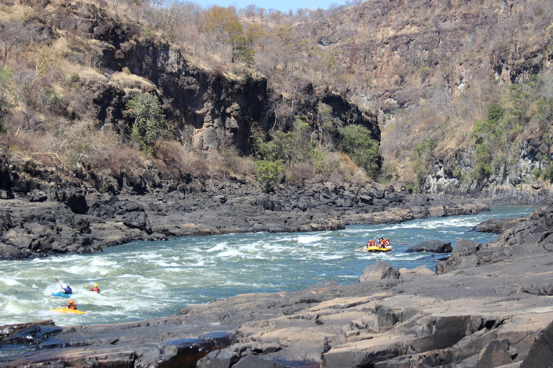 White water rafting at Victoria Falls, Zimbabwe